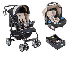 Carrinho de Bebê At6 K com Bebê Conforto e Base - Bege - Burigotto