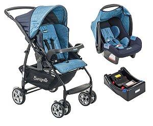 Carrinho De Bebê Rio K com Bebê Conforto e Base - Geo Azul - Burigotto
