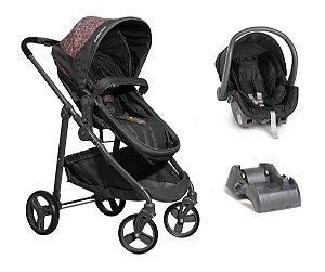 Carrinho De Bebê Olympus com Bebê Conforto e Base - Grafite Rosa - Galzerano