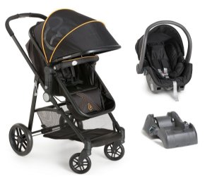 Carrinho De Bebê Gero com Bebê Conforto e Base - Preto E Laranja - Galzerano