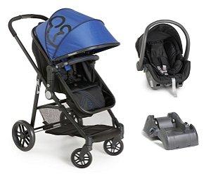 Carrinho De Bebê Gero com Bebê Conforto e Base - Preto E Azul - Galzerano