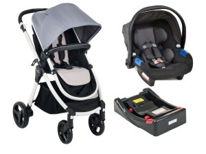 Carrinho de Bebê Soul com Bebê Conforto e Base - Gray Black - Burigotto