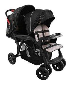 Carrinho de Bebê para Gêmeos Doppio (até 15 kg) - Preto - Galzerano
