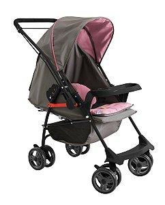 Carrinho de Bebê Milano Rever II (até 15 kg) - Grafite e Rosa - Galzerano