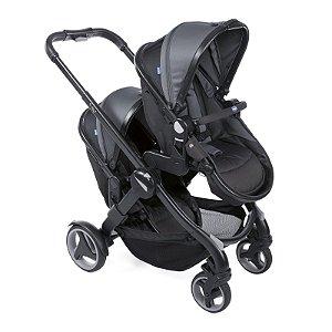 Carrinho de Bebê para Gêmeos Fully Twin (até 15 kg) - Black Stone - Chicco