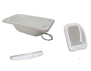 Conjunto de Banheira, Assento e Saboneteira (até 20 kg) - Branco - Galzerano