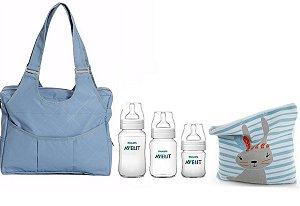 Kit Bolsa Azul + Mamadeiras Avent + Saco de roupa suja