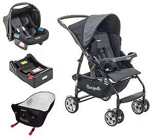 Conjunto de Carrinho de Bebê, Bebê Conforto com Base e Ninho - Preto - Burigotto