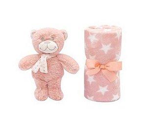 Manta Gift com Pelúcia de Urso (+0M) - Rosa - Buba