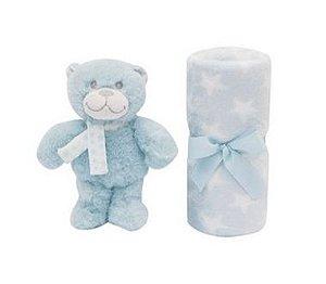 Manta Gift com Pelúcia de Urso (+0M) - Azul - Buba