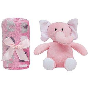 Manta Gift com Pelúcia de Elefantinho (+0M) - Rosa - Buba