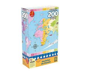 Quebra-Cabeça 200 Peças (+7 anos) - Horários do Mundo - Grow