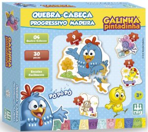 Quebra-Cabeça Progressivo 30 Peças (+3 anos) - Galinha Pintadinha - Grow
