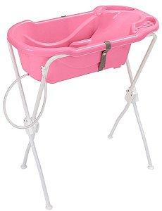 Banheira Ergonômica Safety & Comfort com Suporte (até 2 anos) - Rosa - Tutti Baby