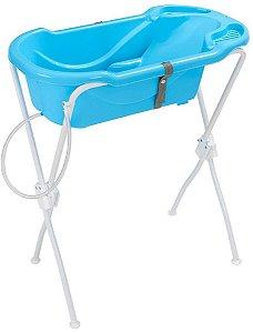 Banheira Ergonômica Safety & Comfort com Suporte (até 2 anos) - Azul - Tutti Baby