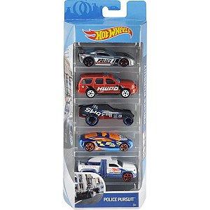 Conjunto 5 Carros Police Pursuit Hot Wheels - Mattel