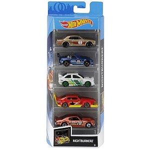 Conjunto 5 Carros Night Burnerz Hot Wheels - Mattel