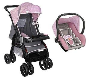 Conjunto de Carrinho de Bebê Upper e Bebê Conforto (até 15 kg) - Rosa - Tutti Baby