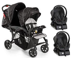 Conjunto de Carrinho de Bebê para Gêmeos Denver Duo e 2 Bebê Conforto com Base (até 15 kg) - Preto - Galzerano