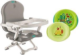 Cadeira de Alimentação Pocket Cinza Bebeliê com Pratos