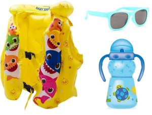 Kit Colete Inflavél Baby Shark Oculos Chicco e Copo Azul