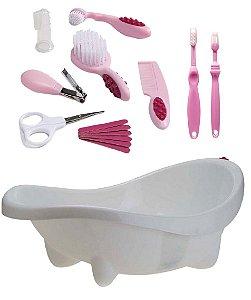 Banheira Laguna Branca com Kit Higiene Bebê Rosa