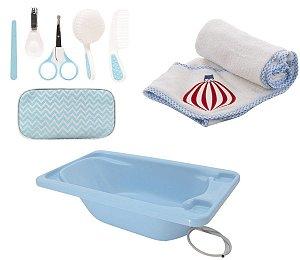 Banheira Rigída com Kit Higiene Azul e Toalha com Capuz