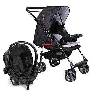Conjunto de Carrinho de Bebê e Bebê Conforto - Preto - Galzerano