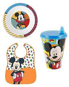 Kit De Alimentação Prato Copo E Babador Mickey