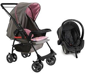 Carrinho de Bebê Travel System Milano Rever II (até 15 kg) - Grafite e Rosa - Galzerano