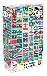 Quebra-Cabeça 200 Peças (+7 anos) - Bandeiras do Mundo - Grow