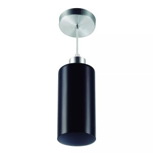 Pendente Vidro Cilíndrico 1xe27 Base Alumínio Escovado Cores