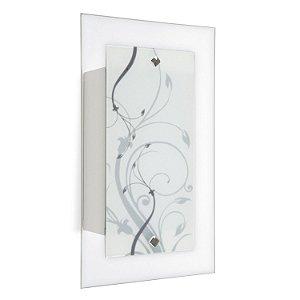 Arandela Plana Flex Retangular 1xE27 Detalhe Floral Blumenau