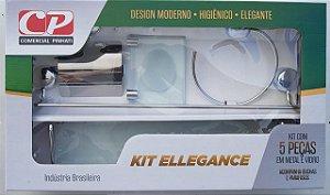 Kit Acess Banheiro Ellegance de Vidro 5 peças Incolor