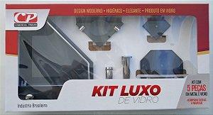 Kit Acess Banheiro Luxo de Vidro 5 peças Canto Fumê