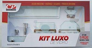 Kit Acess Banheiro Luxo de Vidro 5 peças Retangular Incolor