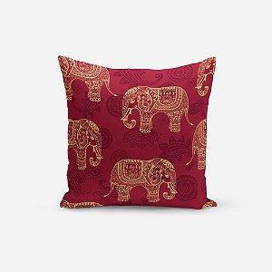 Capa de Almofada Avulsa Yuzo 45x45cm Elefante Fundo Vinho