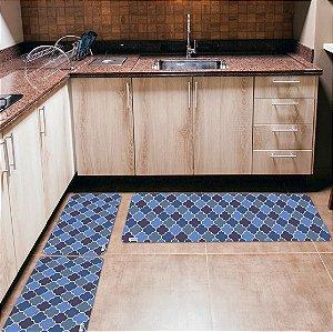 Kit 3 Tapetes de Cozinha Yuzo Abstrato Azul