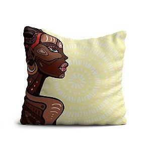 Almofada Yuzo Avulsa 45x45cm Africana Com Fundo Marfim