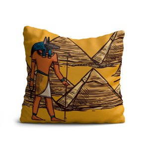 Almofada Yuzo Avulsa 45x45cm Egípcia Pirâmides Colorida
