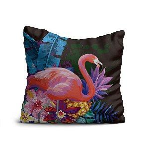 Almofada Yuzo Avulsa 45x45cm Flamingo com Fundo Preto