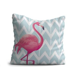 Almofada Yuzo Avulsa 45x45cm Flamingo Fundo Cinza