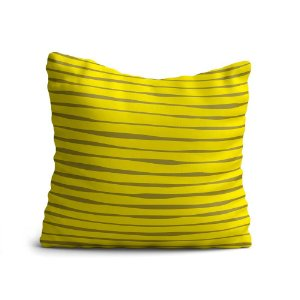 Capa de Almofada Yuzo Avulsa 45x45cm Amarela Listras