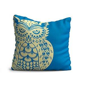 Capa de Almofada Yuzo Avulsa 45x45cm Coruja Marfim / Fundo Azul Claro