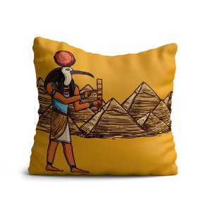 Capa de Almofada Yuzo Avulsa 45x45cm Egípcia Pirâmides Colorida