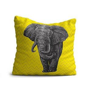 Capa de Almofada Yuzo Avulsa 45x45cm Elefante com fundo amarelo