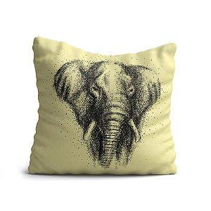 Capa de Almofada Yuzo Avulsa 45x45cm Elefante Com Fundo Marfim