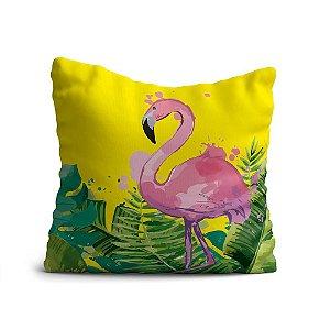 Capa de Almofada Yuzo Avulsa 45x45cm Flamingo Fundo Amarelo