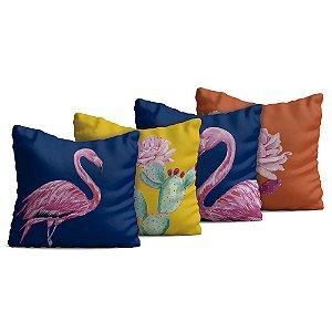 Kit 4 Almofadas Yuzo 45x45cm Flamingo Colorida