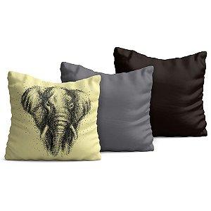 Kit com 3 Capas de Almofadas Yuzo 45x45cm Elefante / Fundo Marfim